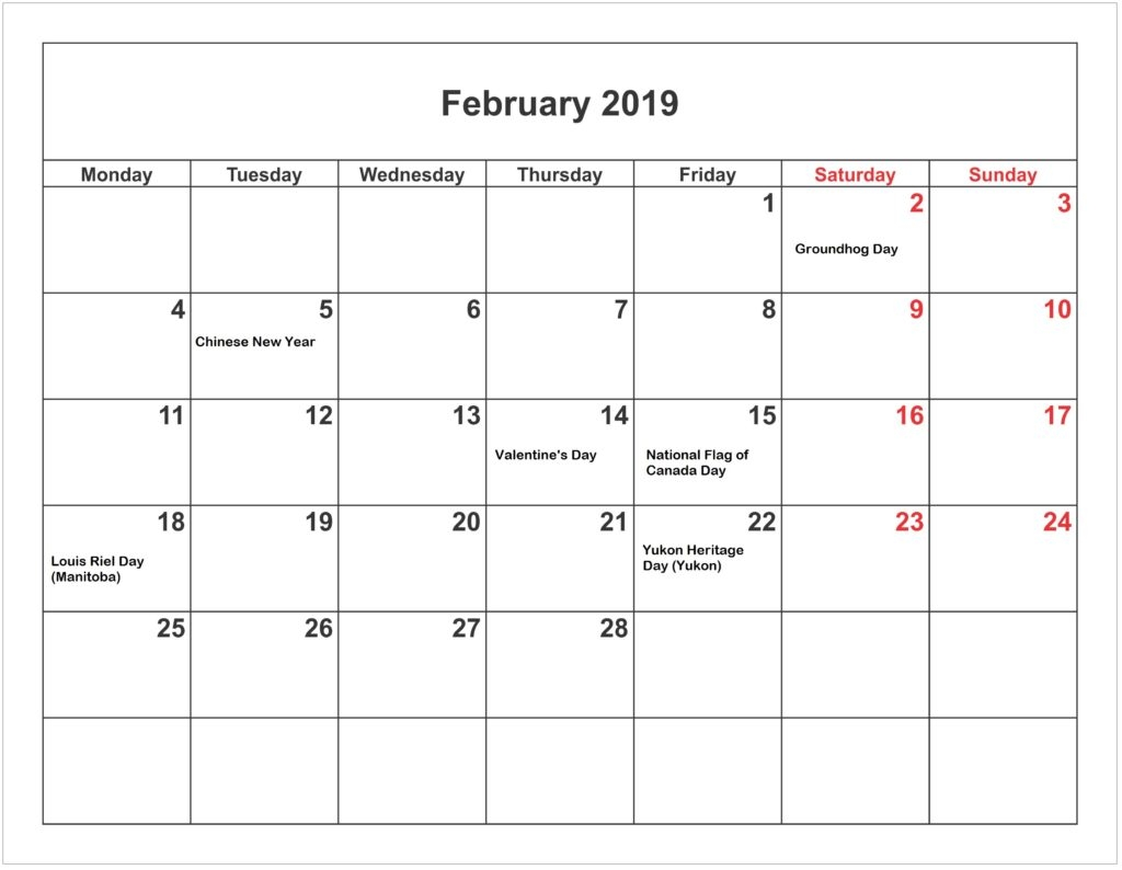 niche templates find niche templates on different::February 2019 Calendar UK