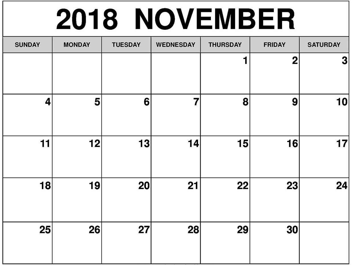 november 2018 blank calendar business calendar templates::November 2018 Calendar Pdf