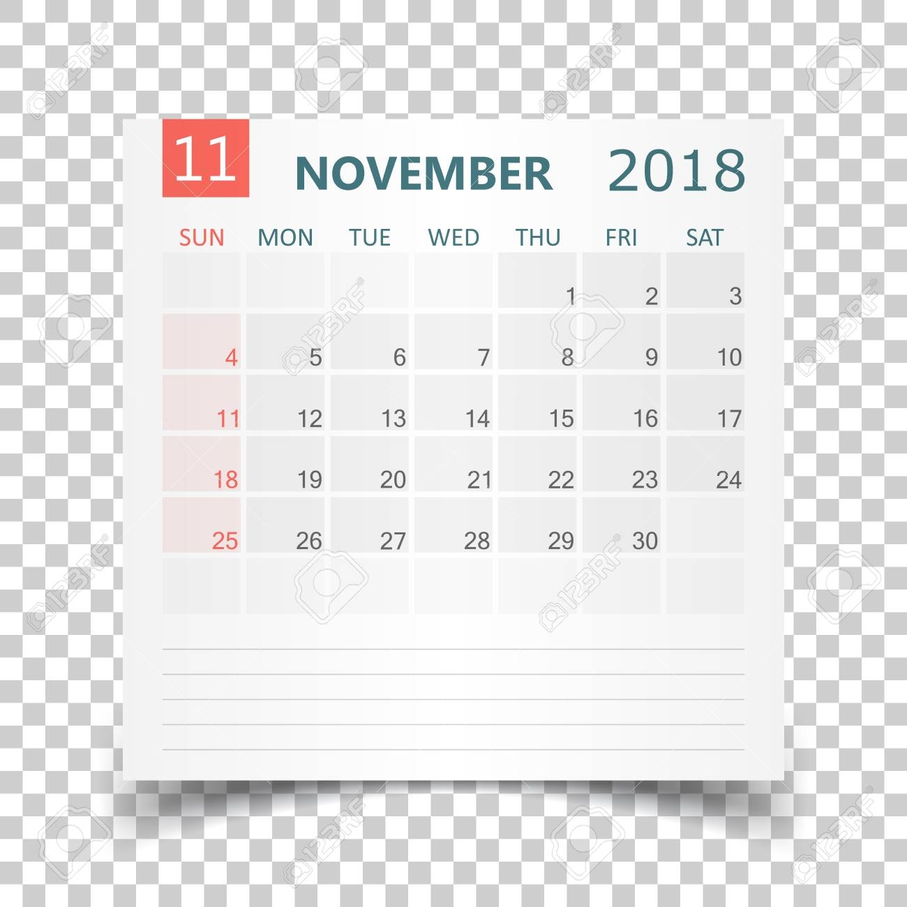 november 2018 calendar calendar sticker design template week::November 2018 Calendar