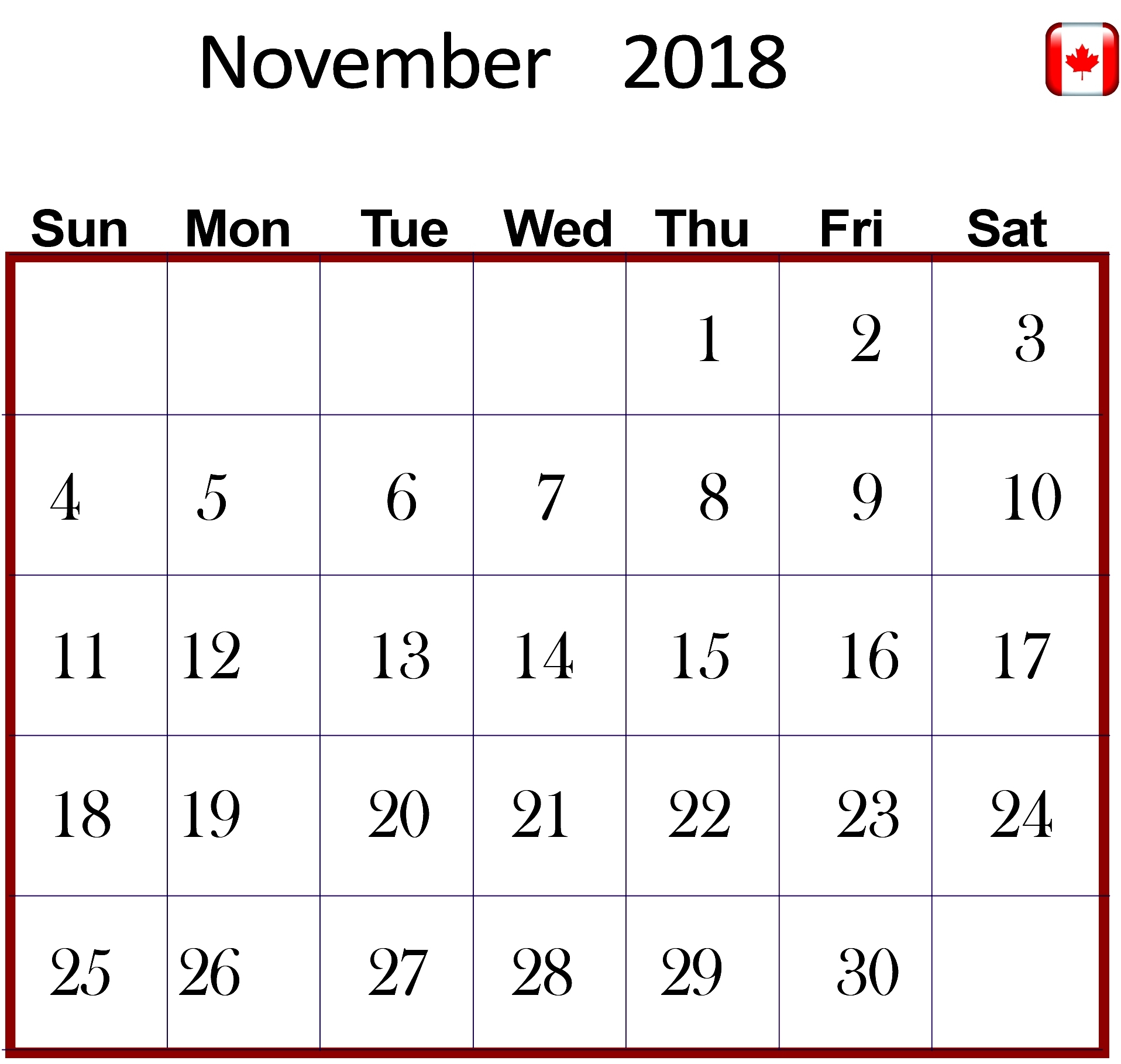 november 2018 calendar canada best calendar printable pdf::November 2018 Calendar Canada