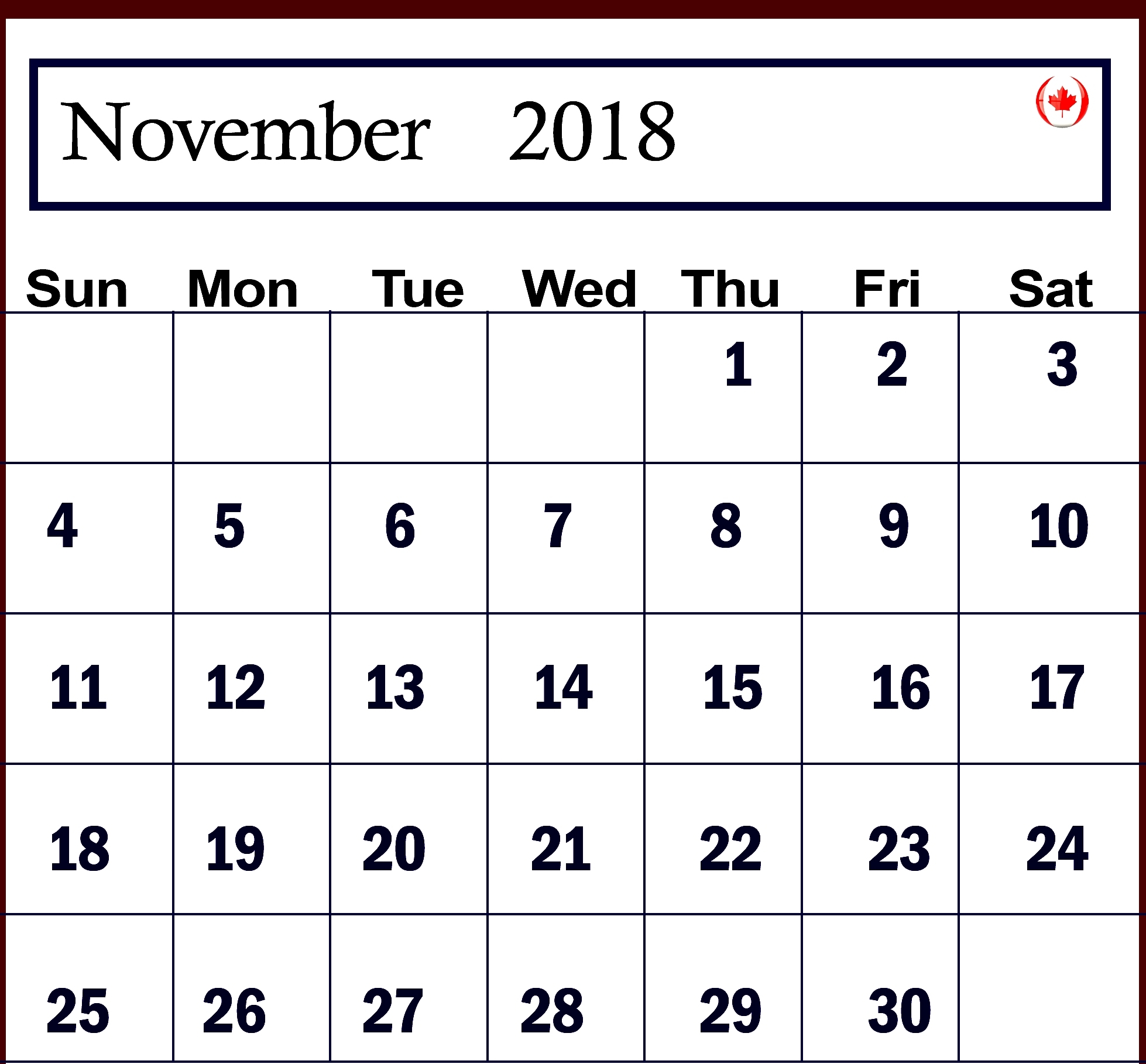 november 2018 calendar canada best calendar printable pdf::November 2018 Calendar Pdf