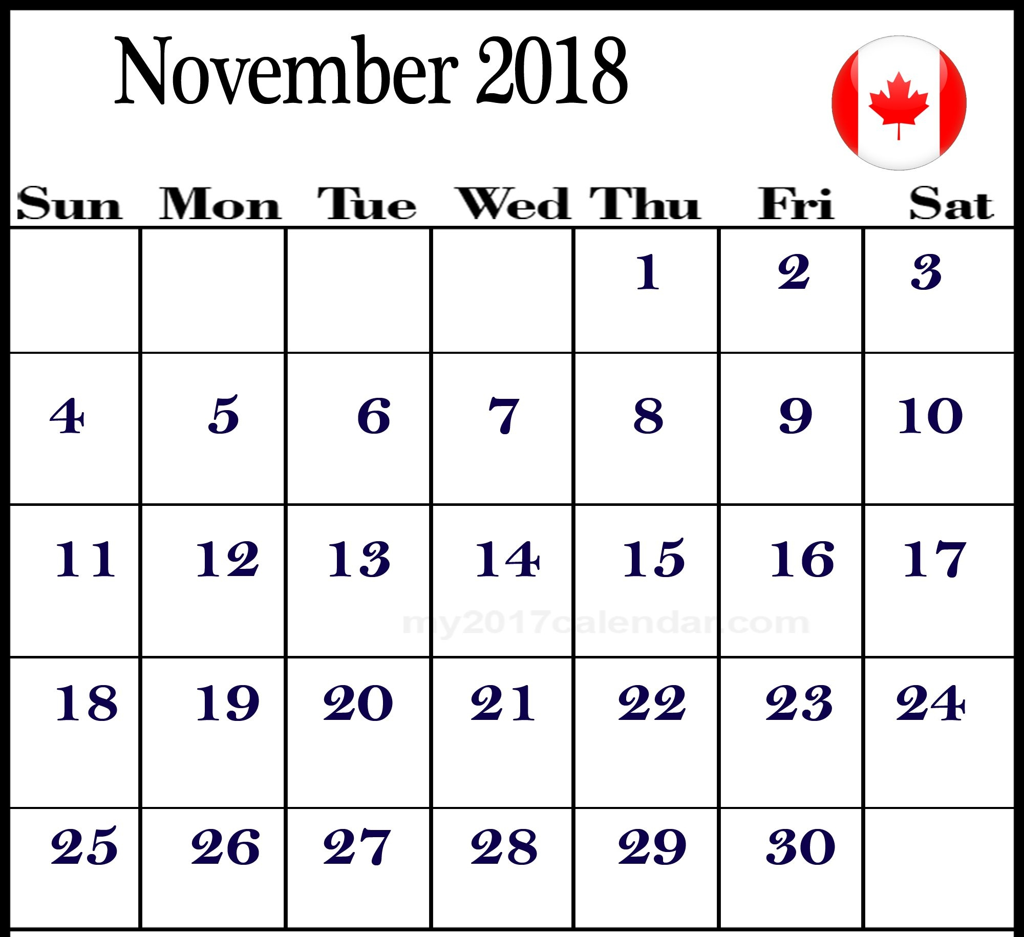 november 2018 calendar canada free business calendar templates::November 2018 Calendar Canada