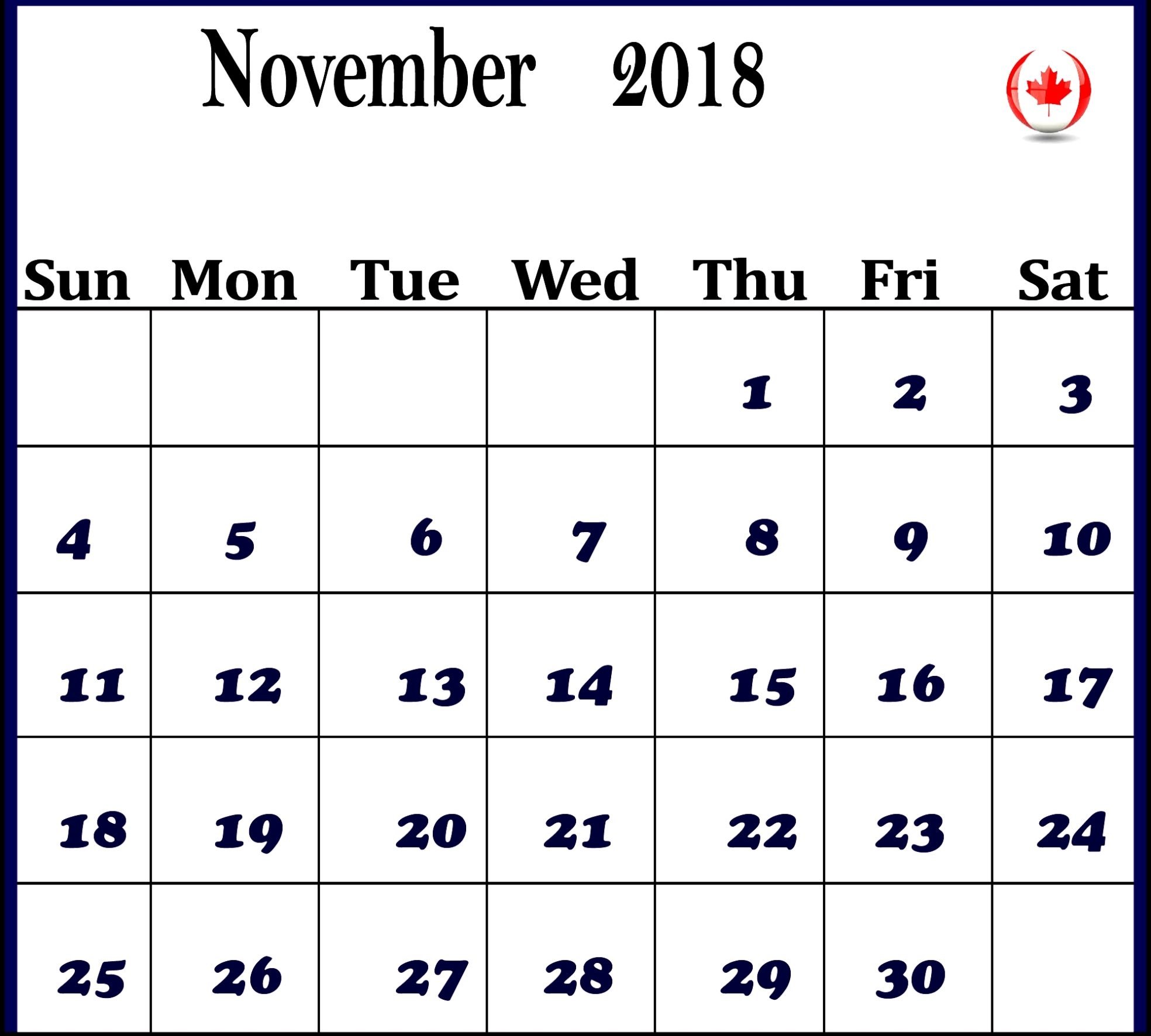 november 2018 calendar canada printable calendar template letter November 2018 Calendar MS Word erdferdf