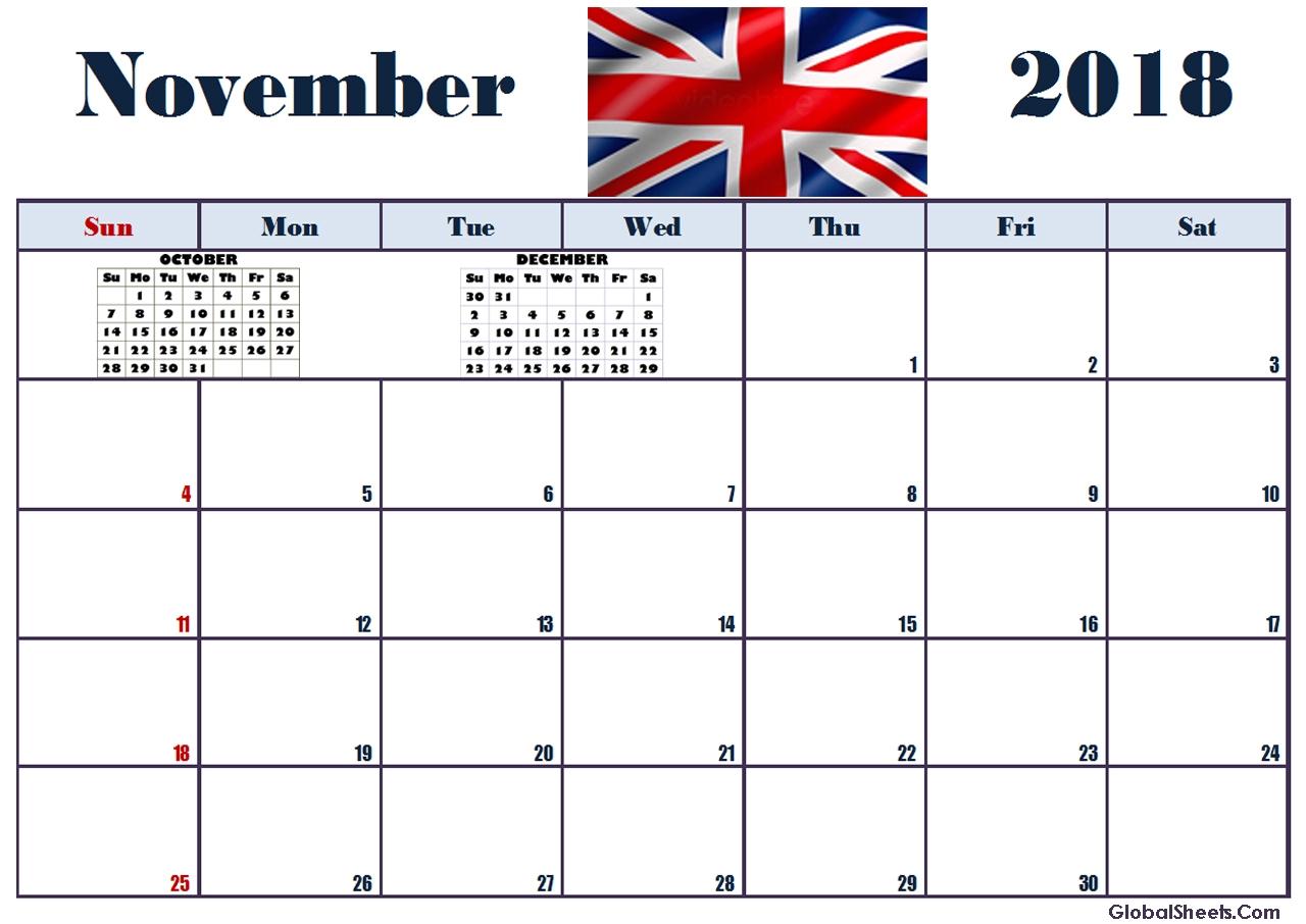 november 2018 calendar editable printable letter template calendar Editable November 2018 Calendar erdferdf