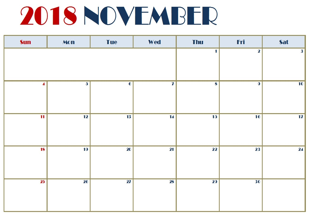 november 2018 calendar editable template download december 2018 Editable November 2018 Calendar erdferdf