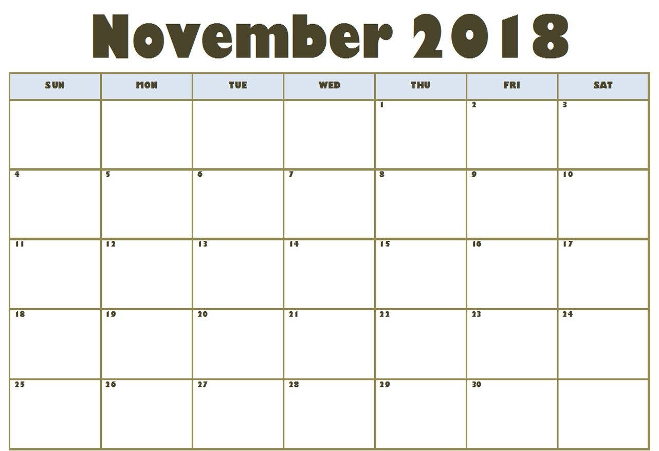 november 2018 calendar excel business calendar templates November 2018 Excel Calendar erdferdf