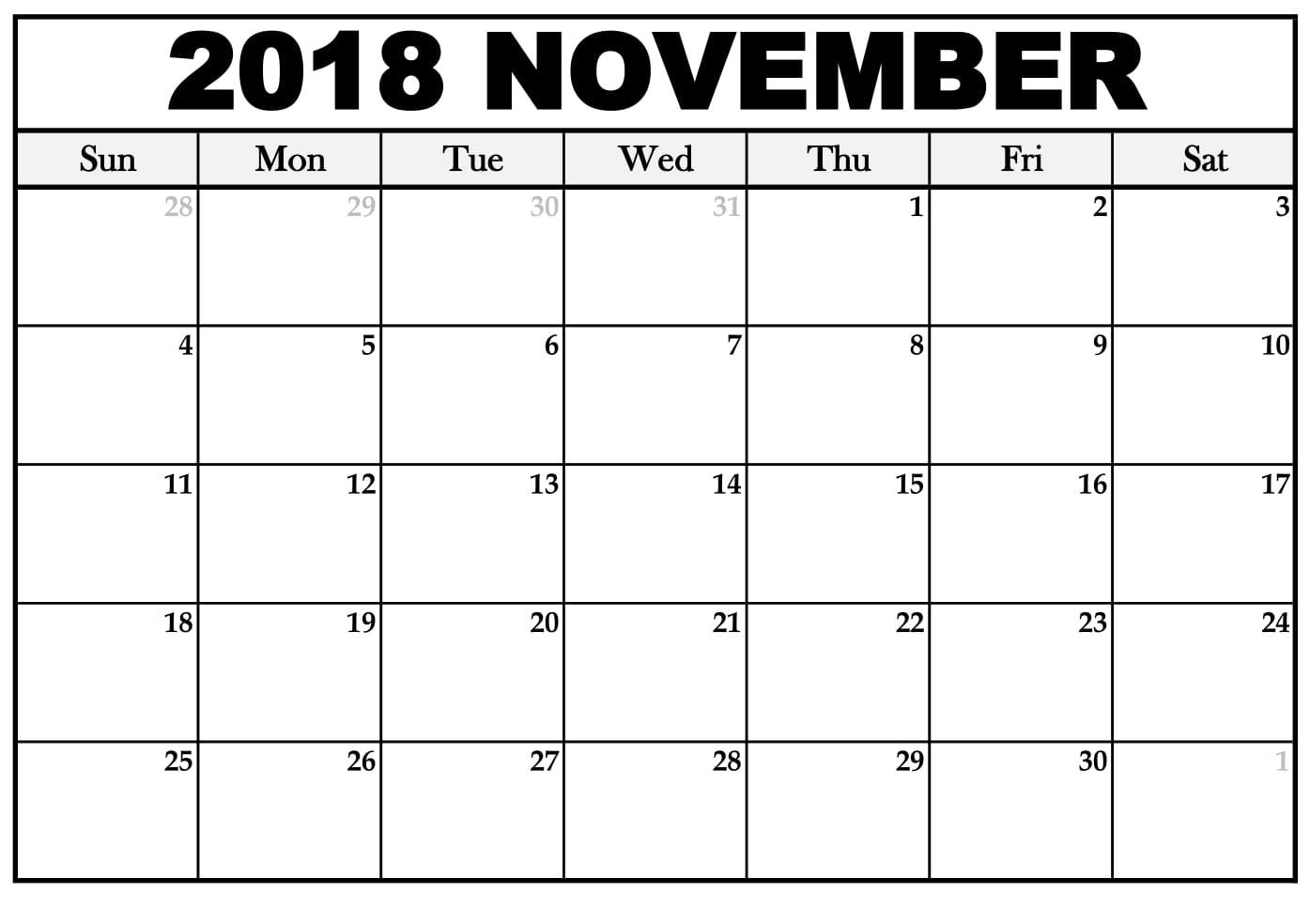 november 2018 calendar excel printable calendar templates 2018 November 2018 Excel Calendar erdferdf