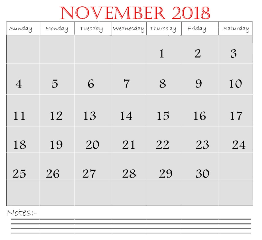 november 2018 calendar in excel printable calendar templates 2018::November 2018 Calendar Pdf