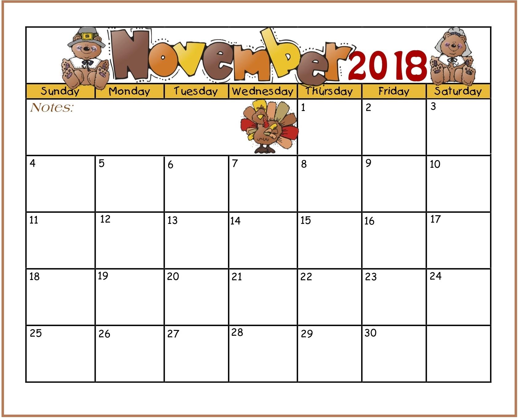 november 2018 calendar kindergarten printable printable calendar::November 2018 Calendar Printable Template