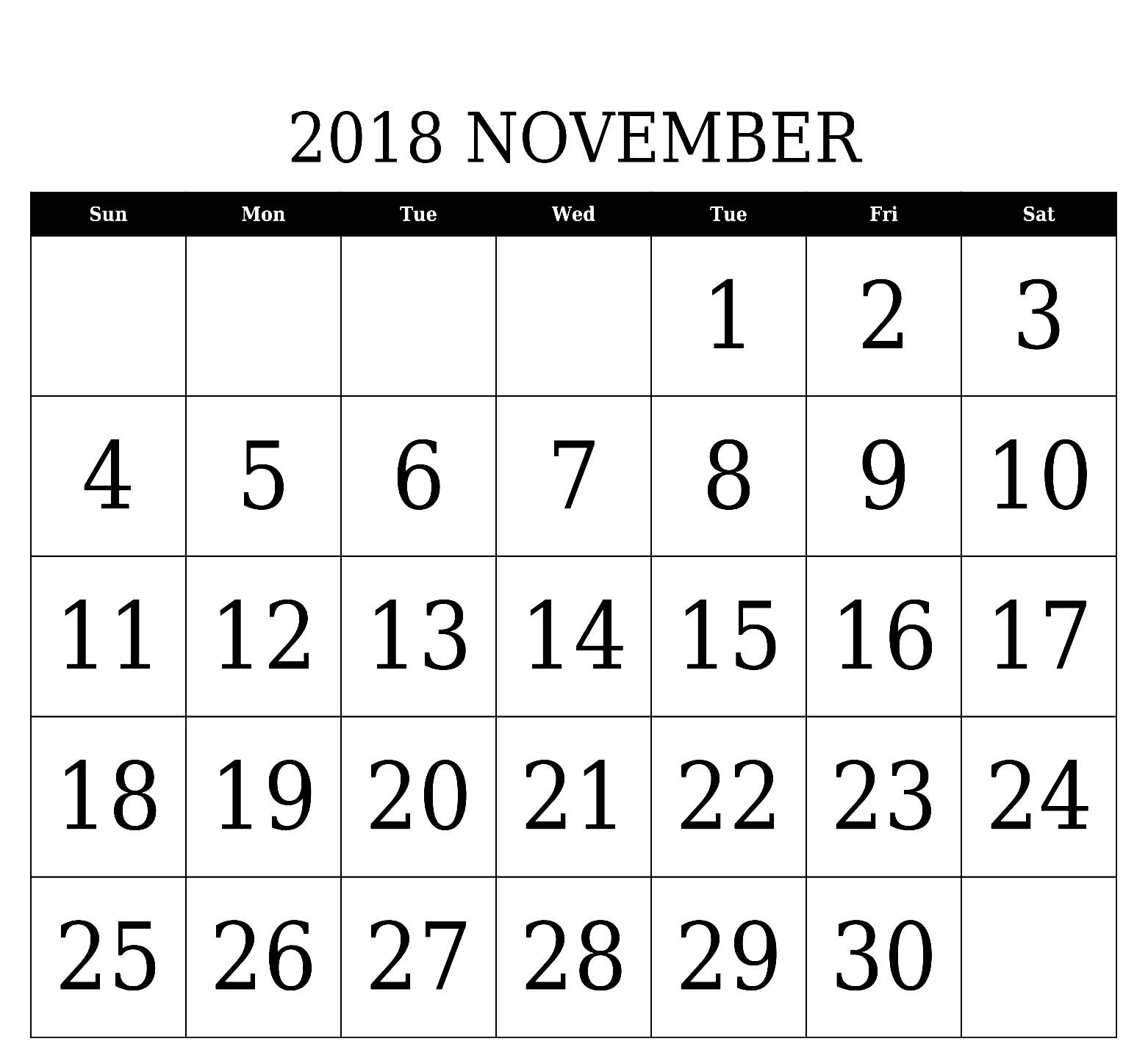 november 2018 calendar ms word calendar printable with holidays November 2018 Calendar MS Word erdferdf