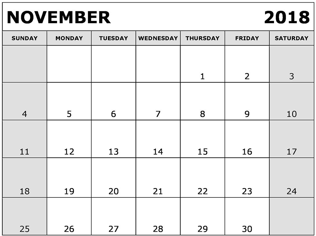 november 2018 calendar pdf best calendar printable pdf template::November 2018 Calendar Pdf