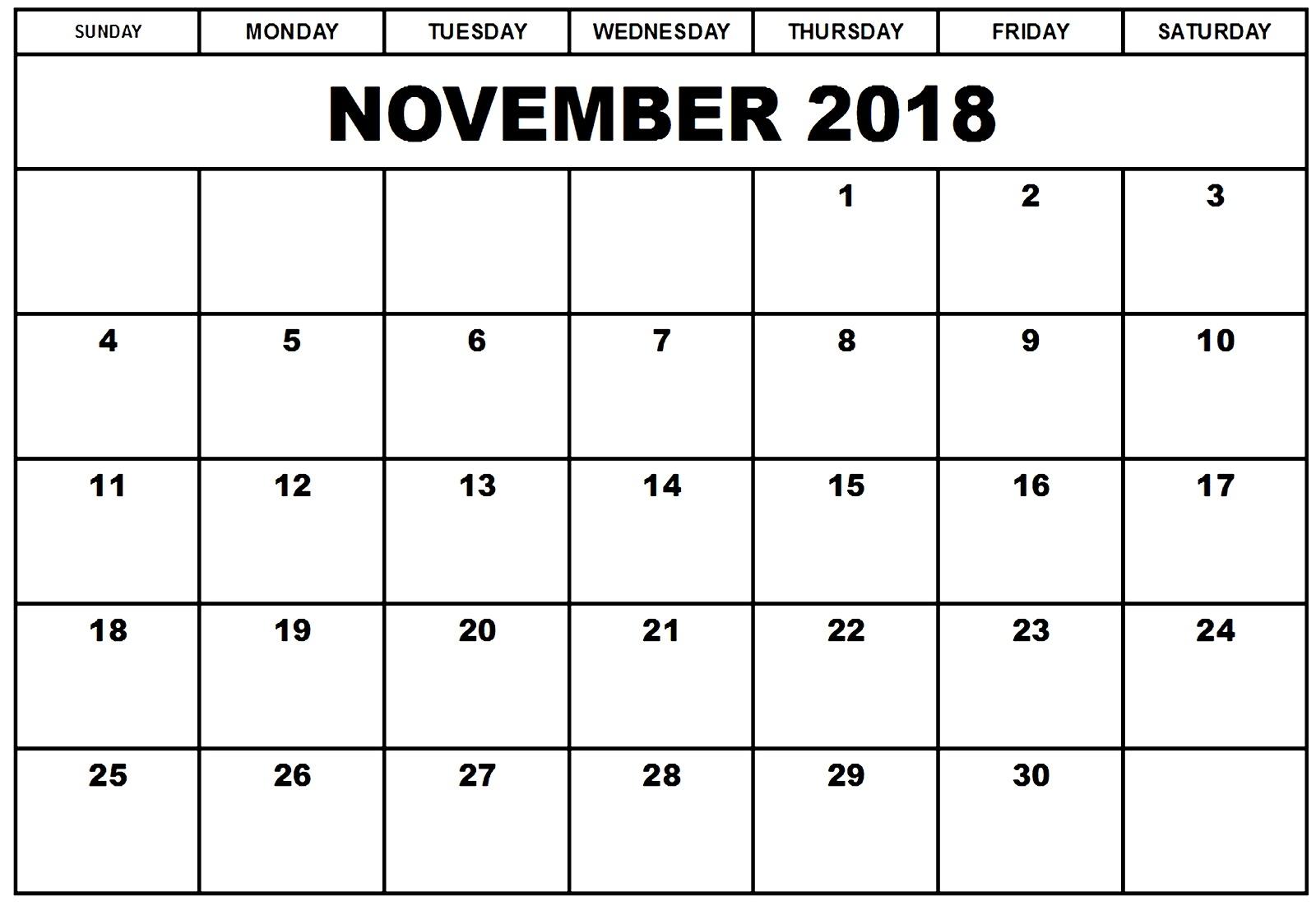 november 2018 calendar pdf excel word november 2019 calendar November 2018 Excel Calendar erdferdf