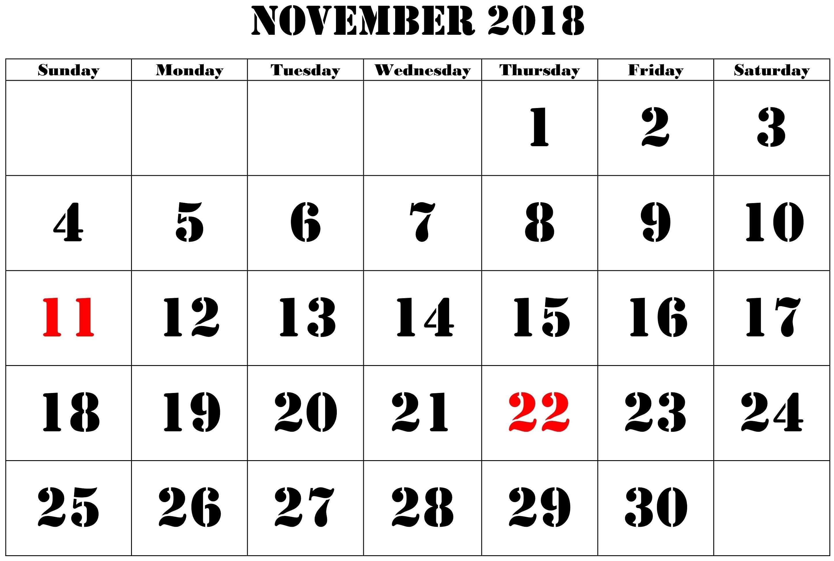 november 2018 calendar pdf printable 2 printable 2018 calendar::November 2018 Calendar Pdf