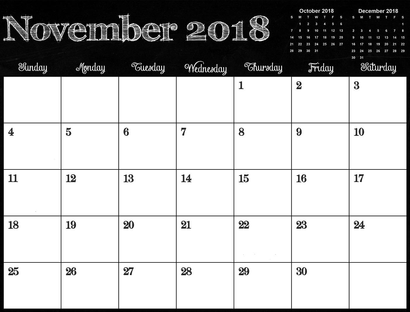 november 2018 calendar pdf word excel template printable 2018::November 2018 Calendar Pdf