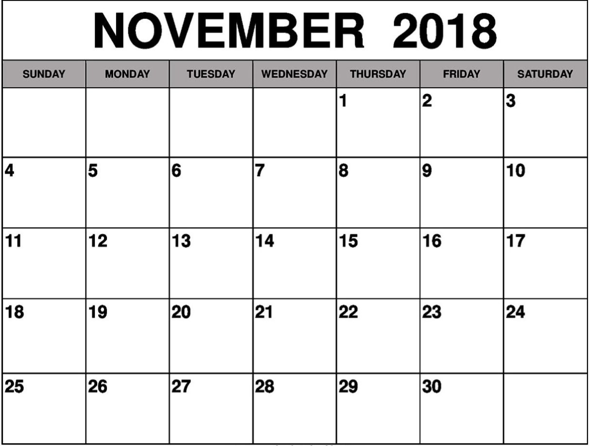 november 2018 calendar printable calendar template letter format November 2018 Calendar MS Word erdferdf
