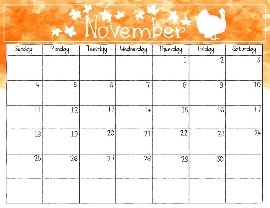 november 2018 calendar printable font calendar template::November 2018 Calendar Printable Template