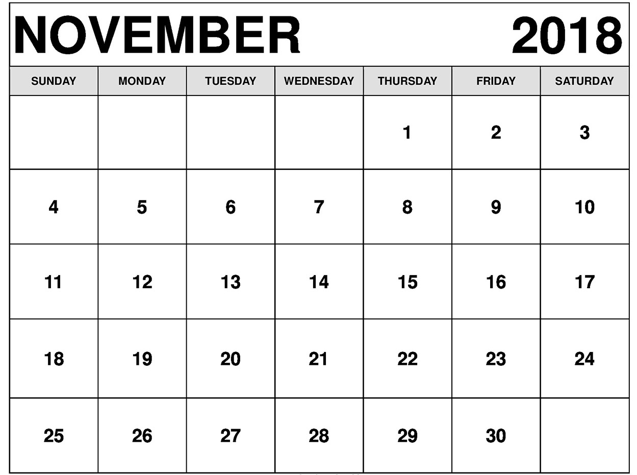 november 2018 calendar printable printable office templates::November 2018 Calendar Printable