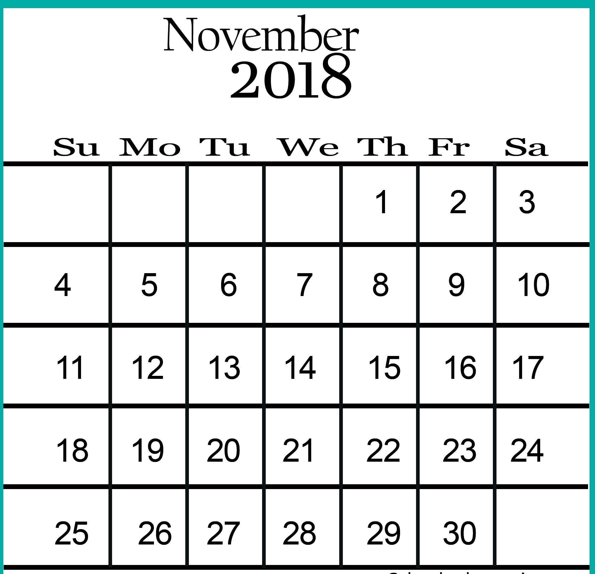 november 2018 calendar printable word calendar template letter::November 2018 Calendar Printable