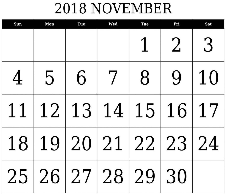 november 2018 calendar template printable 2018 calendar templates::November 2018 Calendar Template