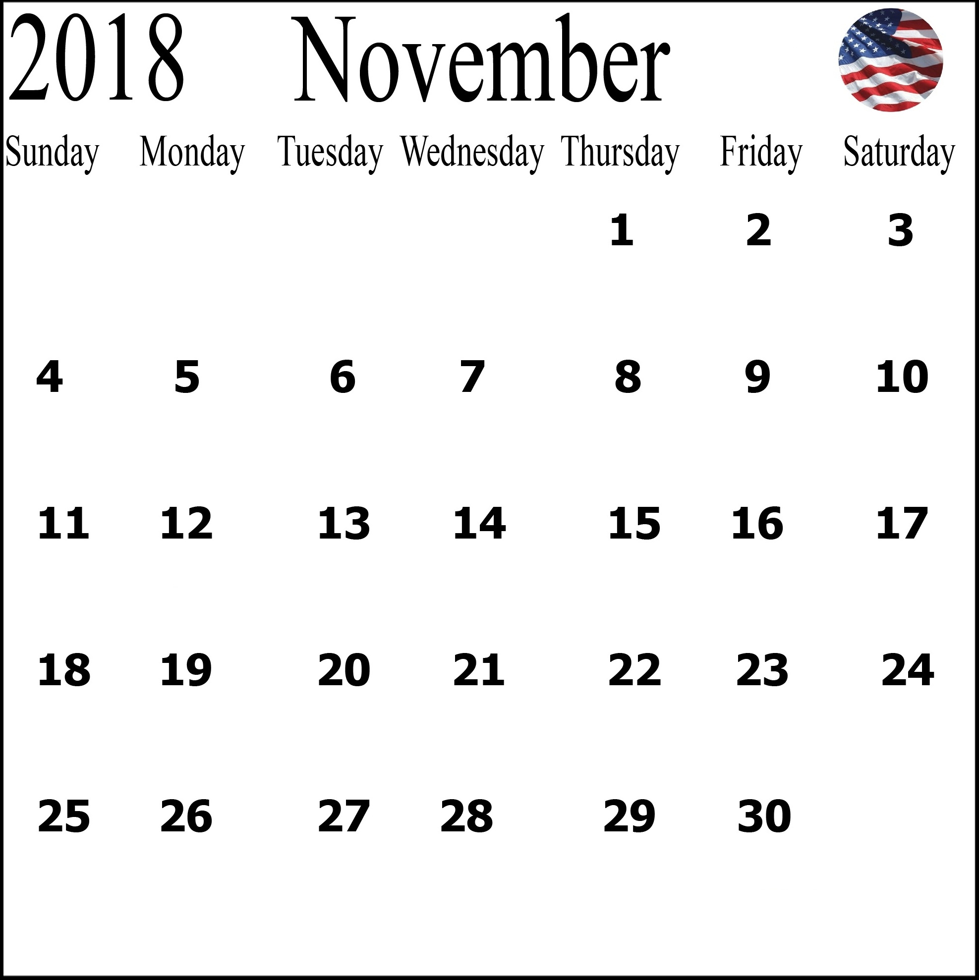 november 2018 calendar us printable 2018 calendar templates pdf excel::November 2018 Calendar USA