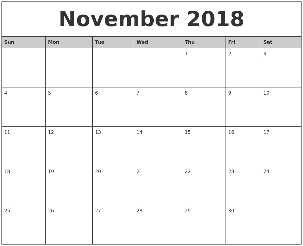 november 2018 calendar usa holidays printable templates letter::November 2018 Calendar USA