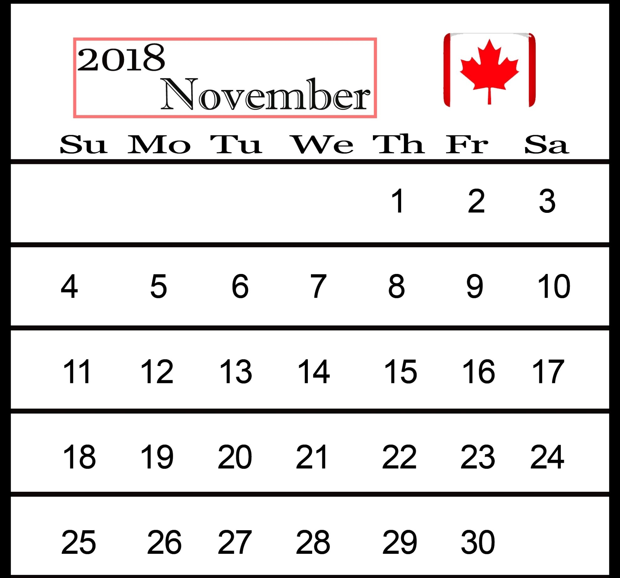 november 2018 calendar with holidays canada business calendar::November 2018 Calendar Canada