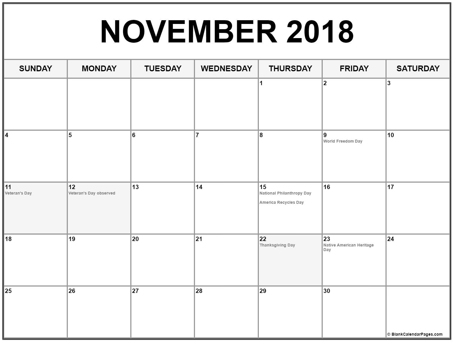 november 2018 calendar with holidays printable calendar::November 2018 Calendar USA