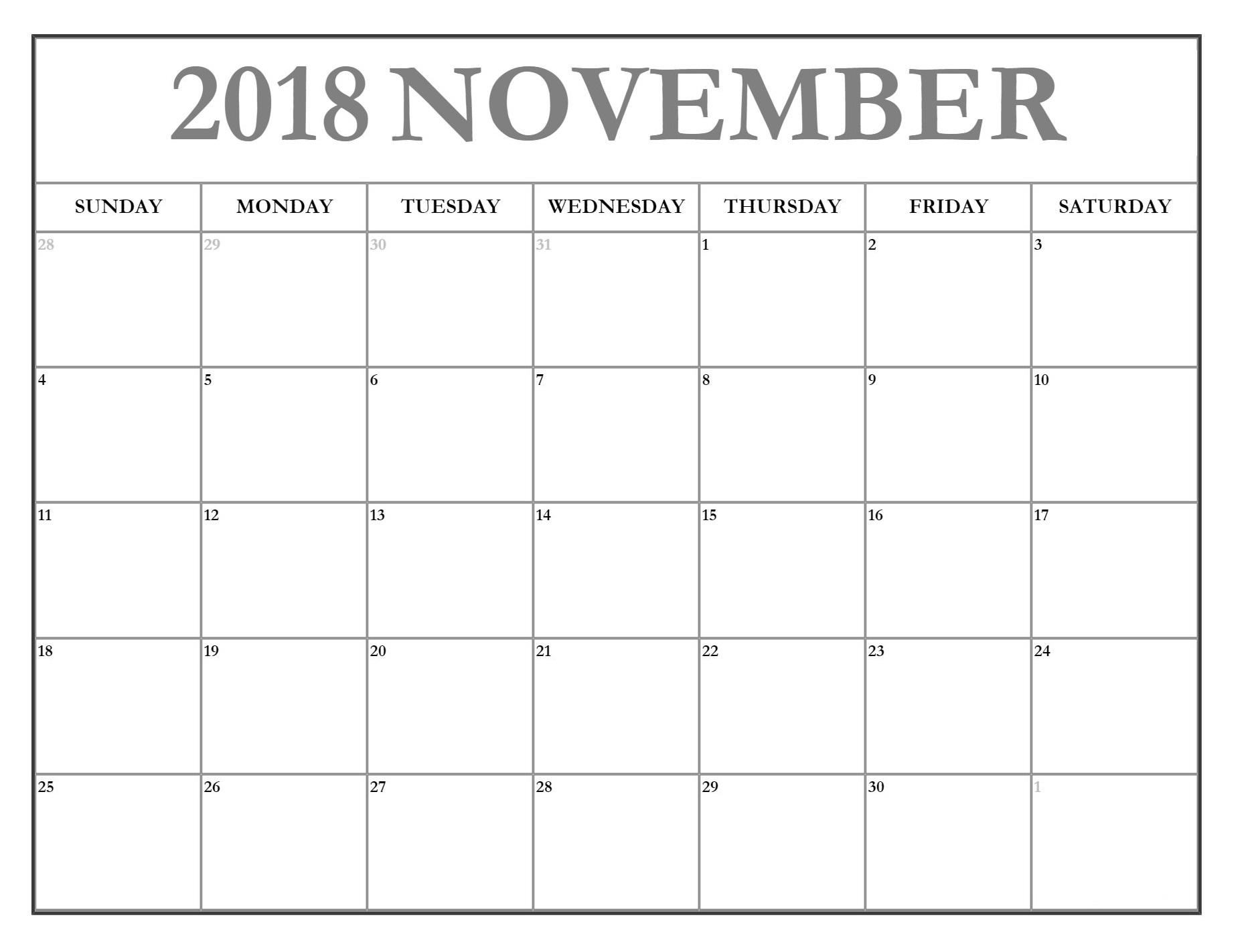 November 2018 Calendar Pdf