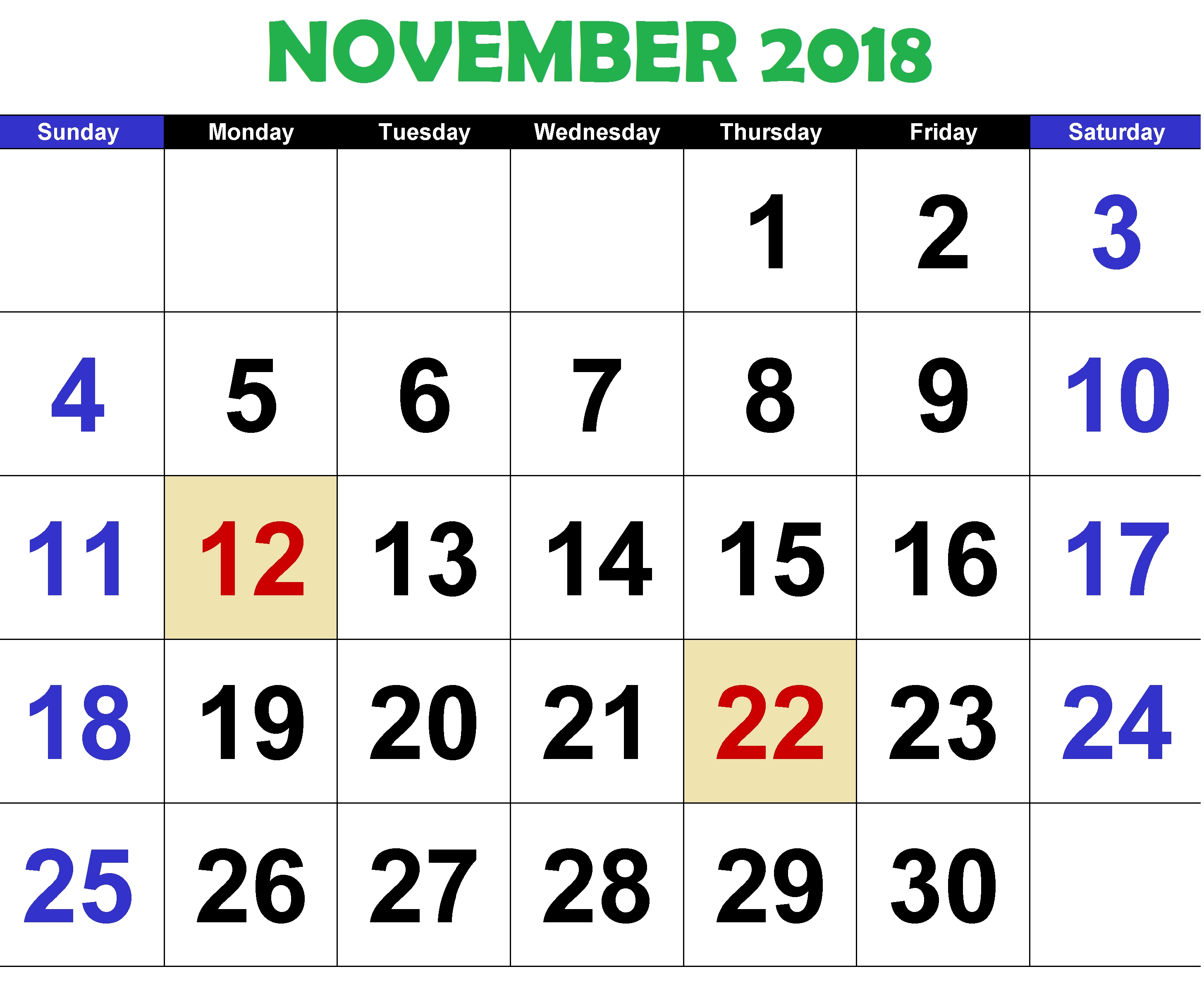november 2018 calendar word::November 2018 Calendar Printable Template