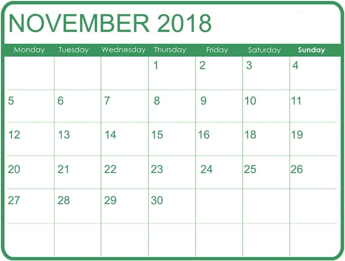 november 2018 excel calendar printable 2018 calendar templates pdf November 2018 Excel Calendar erdferdf