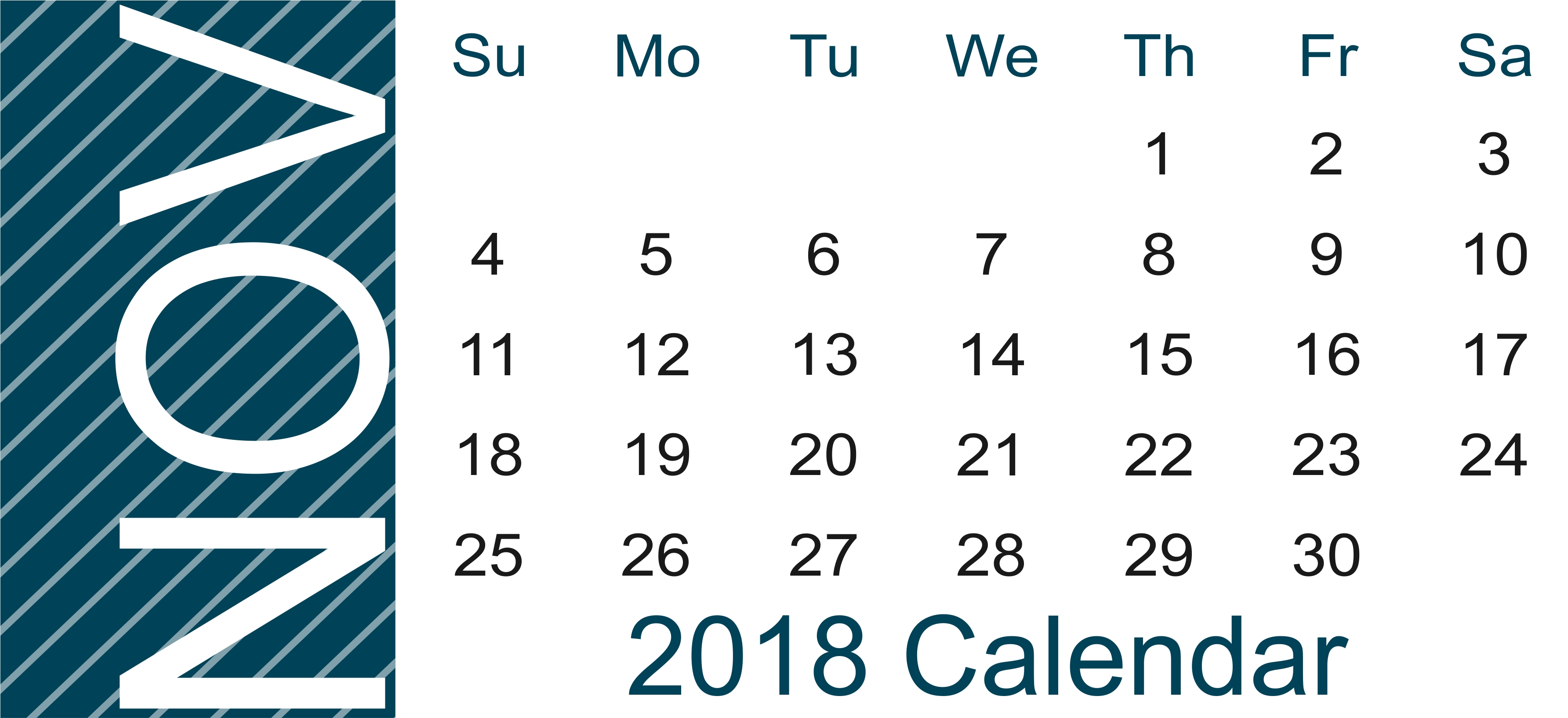 november 2018 landscape portrait calendar template download::November 2018 Calendar Template