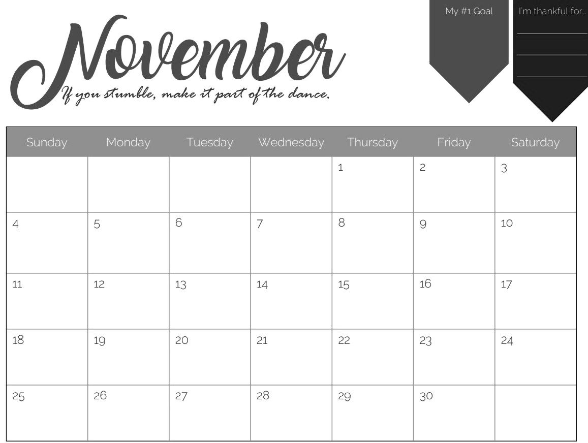 november 2018 printable calendar pdf free monthly template::November 2018 Calendar Pdf