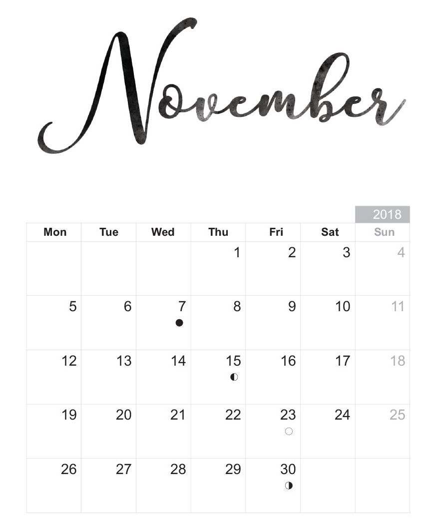 november 2018 printable calendar template print free calendar::November 2018 Calendar Template