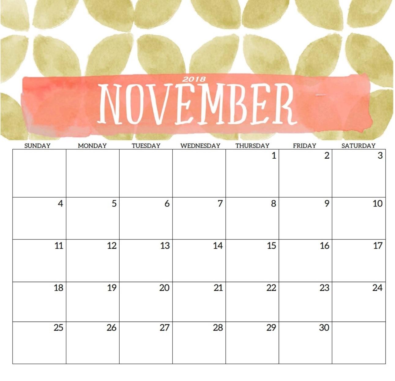 november 2018 printable calendar templates november 2018 calendar::November 2018 Calendar Printable Template