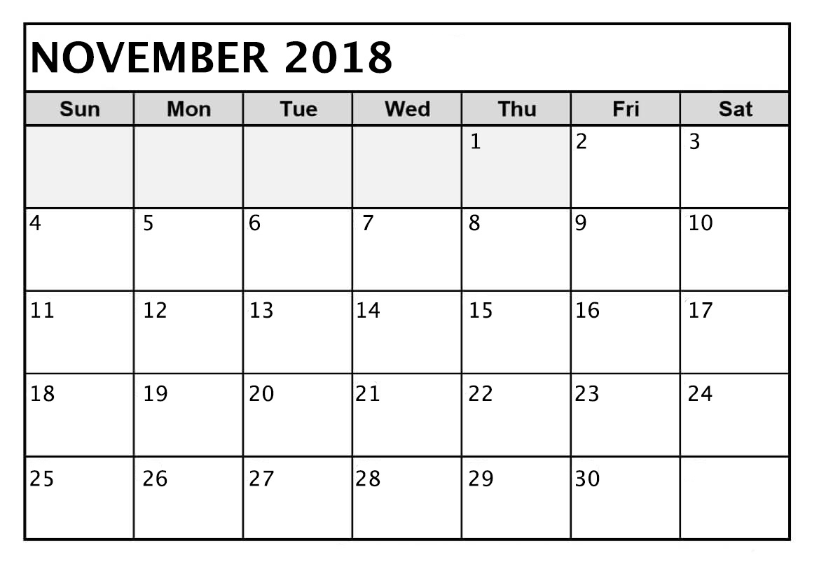 November 2018 Calendar MS Word Example
