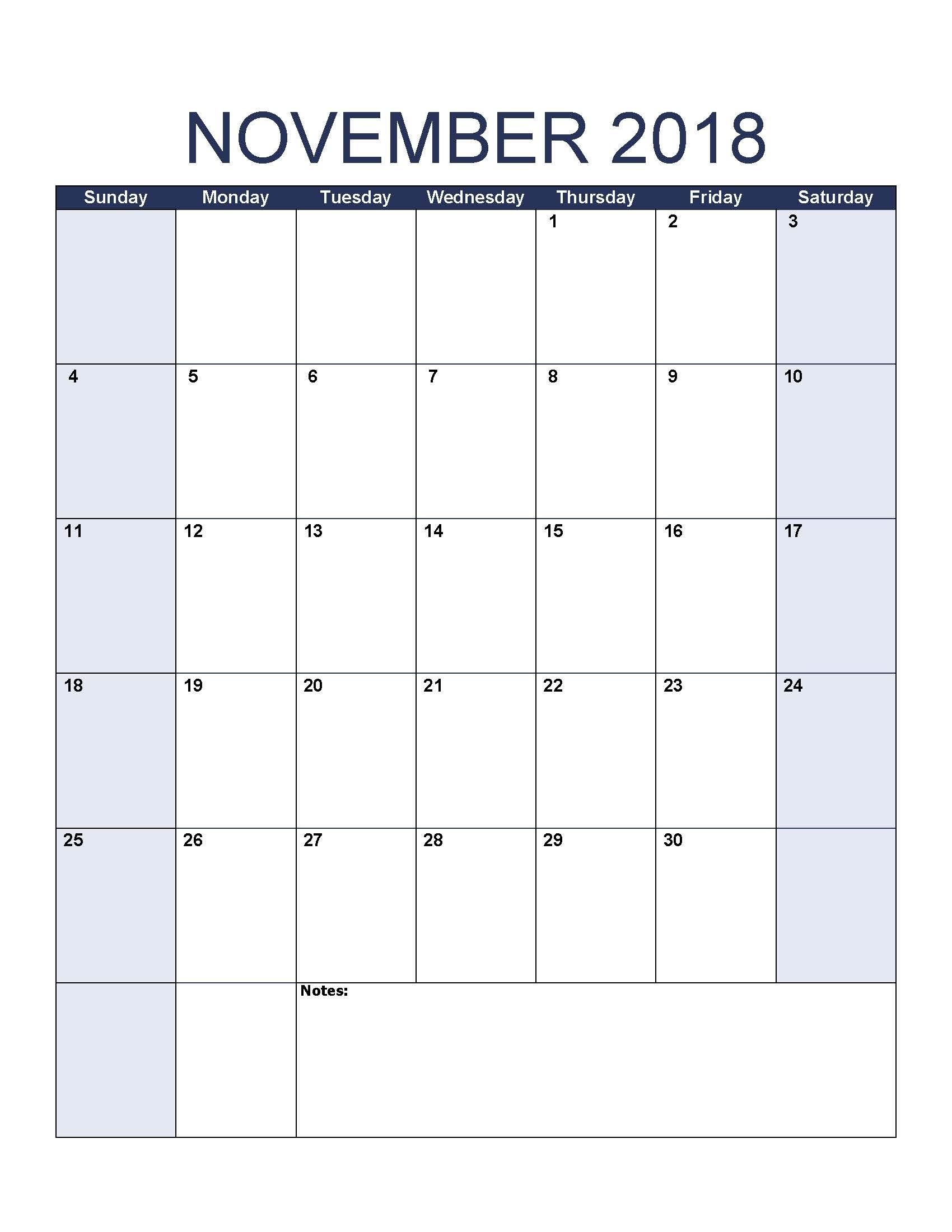november printable calendar templates 2018::November 2018 Calendar Printable