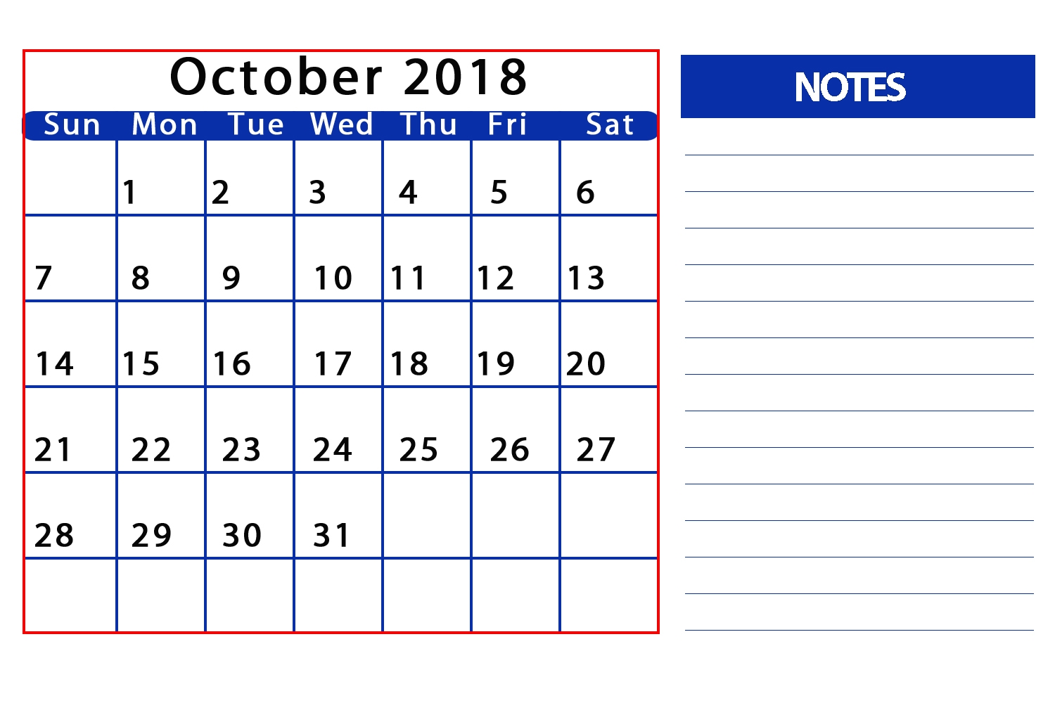 october 2018 calendar countdown printable printable calendar Calendar October 2018 Printables erdferdf