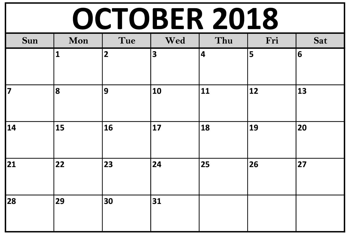 october 2018 calendar editable template free printable calendar Free October 2018 Calendar Word Document erdferdf