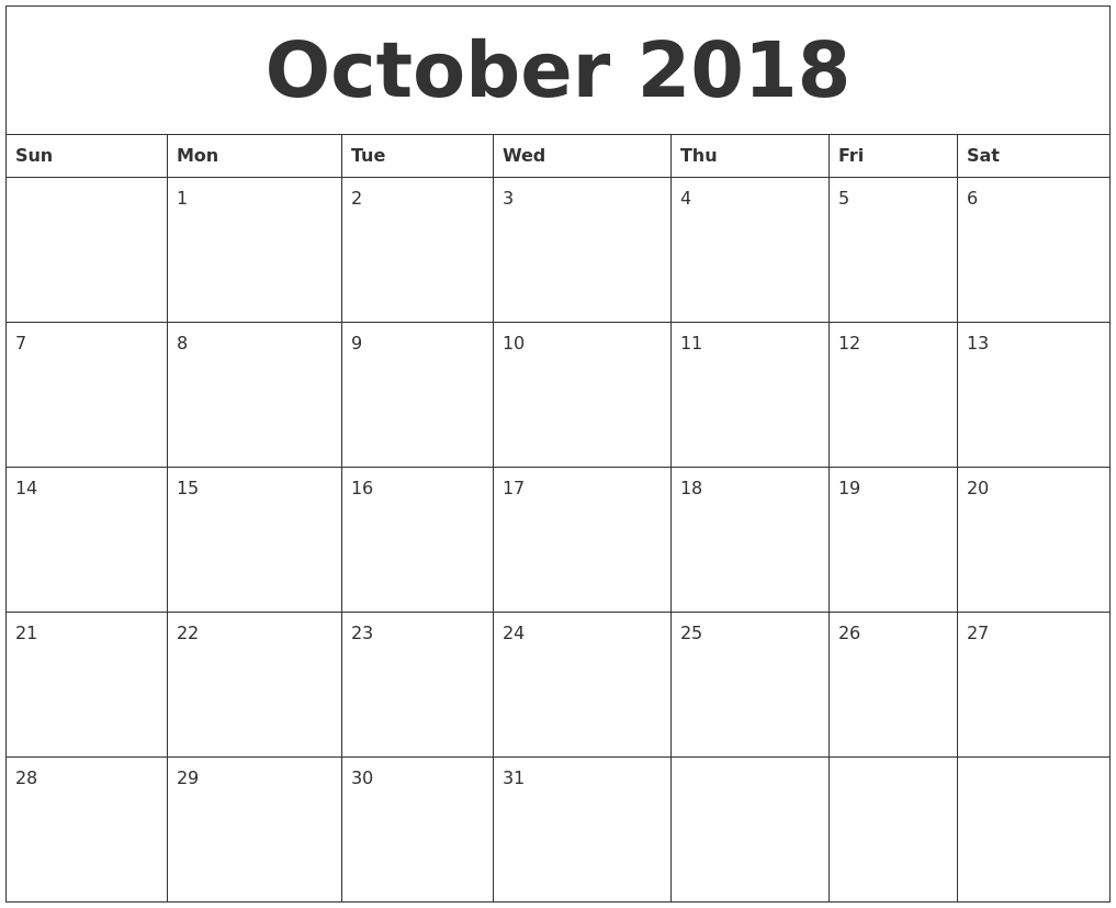 october 2018 calendar free printable October 2018 Calendar Free erdferdf
