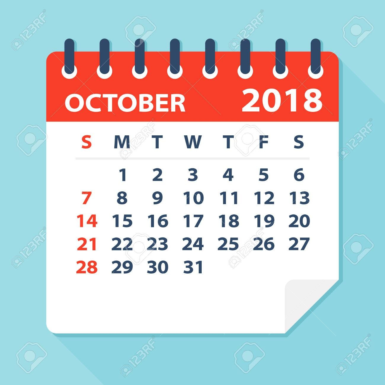 october 2018 calendar leaf flat vector illustration royalty free October 2018 Calendar Free erdferdf