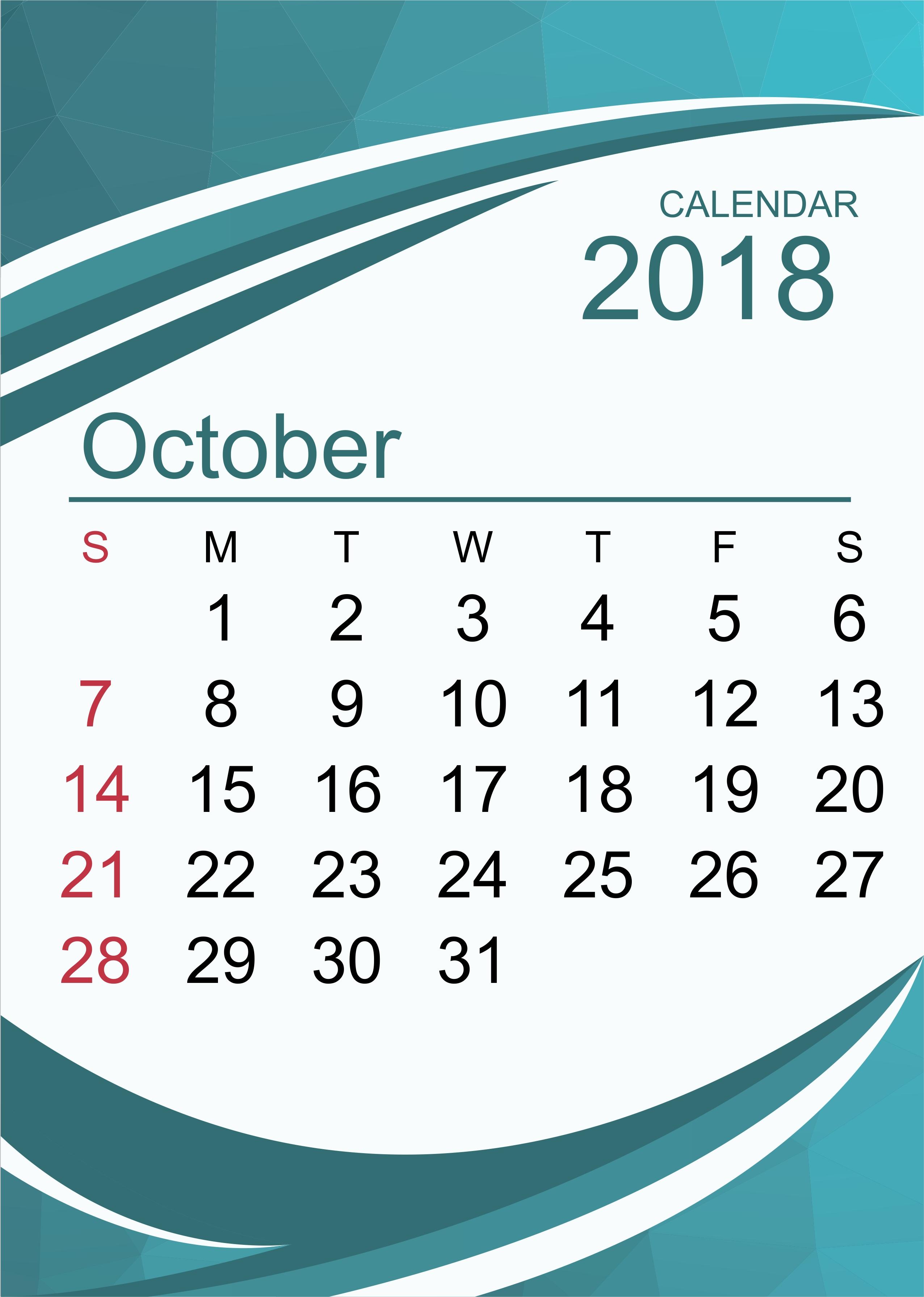 october 2018 calendar october 2018 printable calendar october Calendar October 2018 Printables erdferdf