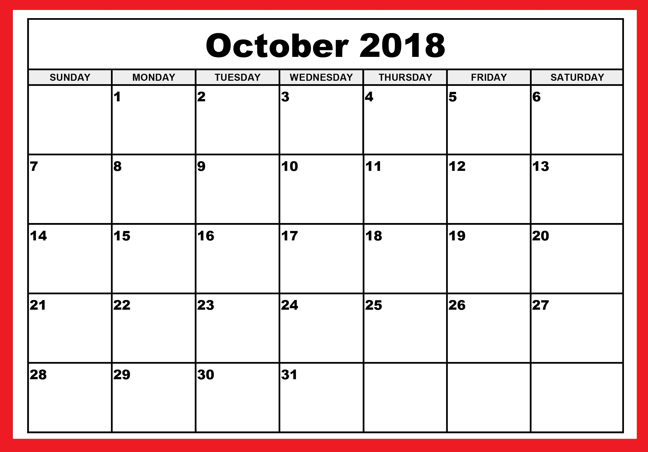 october 2018 calendar october 2018 printable calendar october Free October 2018 Calendar Word Document erdferdf