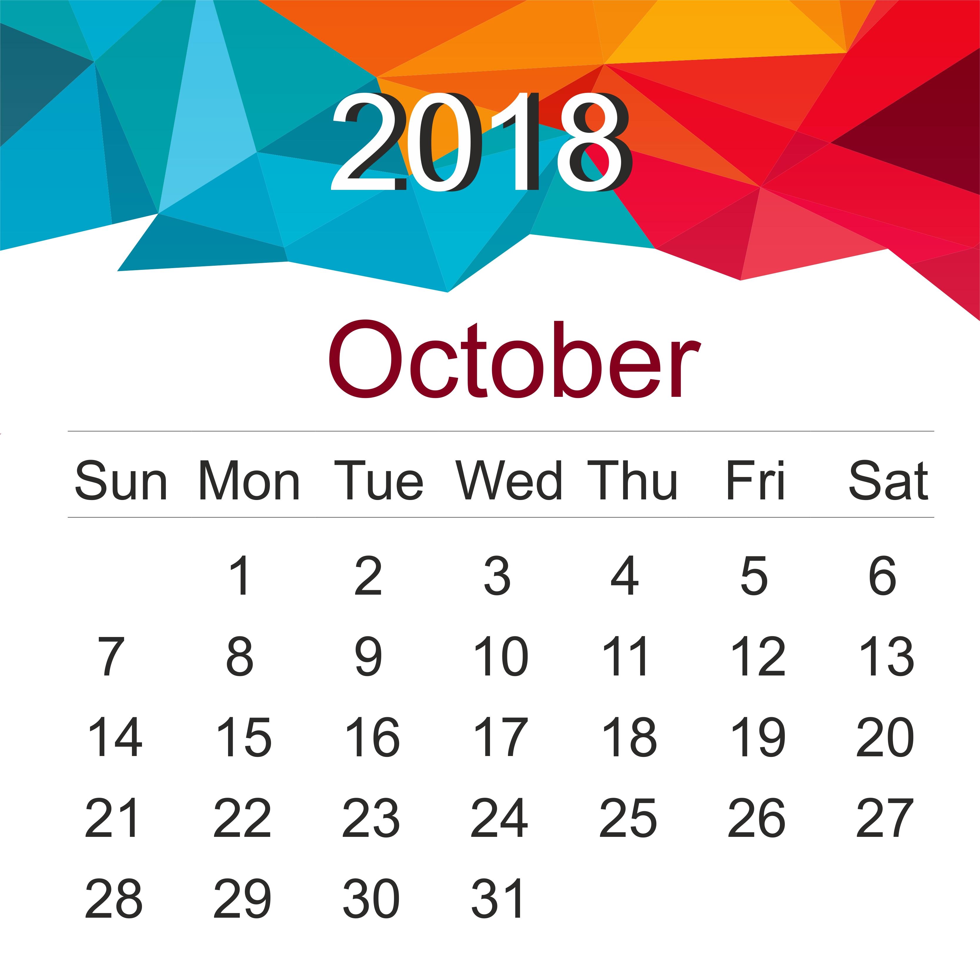 october 2018 calendar october 2018 printable calendar october Printable October 2018 Calendar erdferdf
