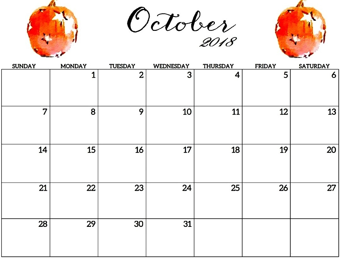 october 2018 calendar pdf printable templates October 2018 Calendar Printable Template erdferdf