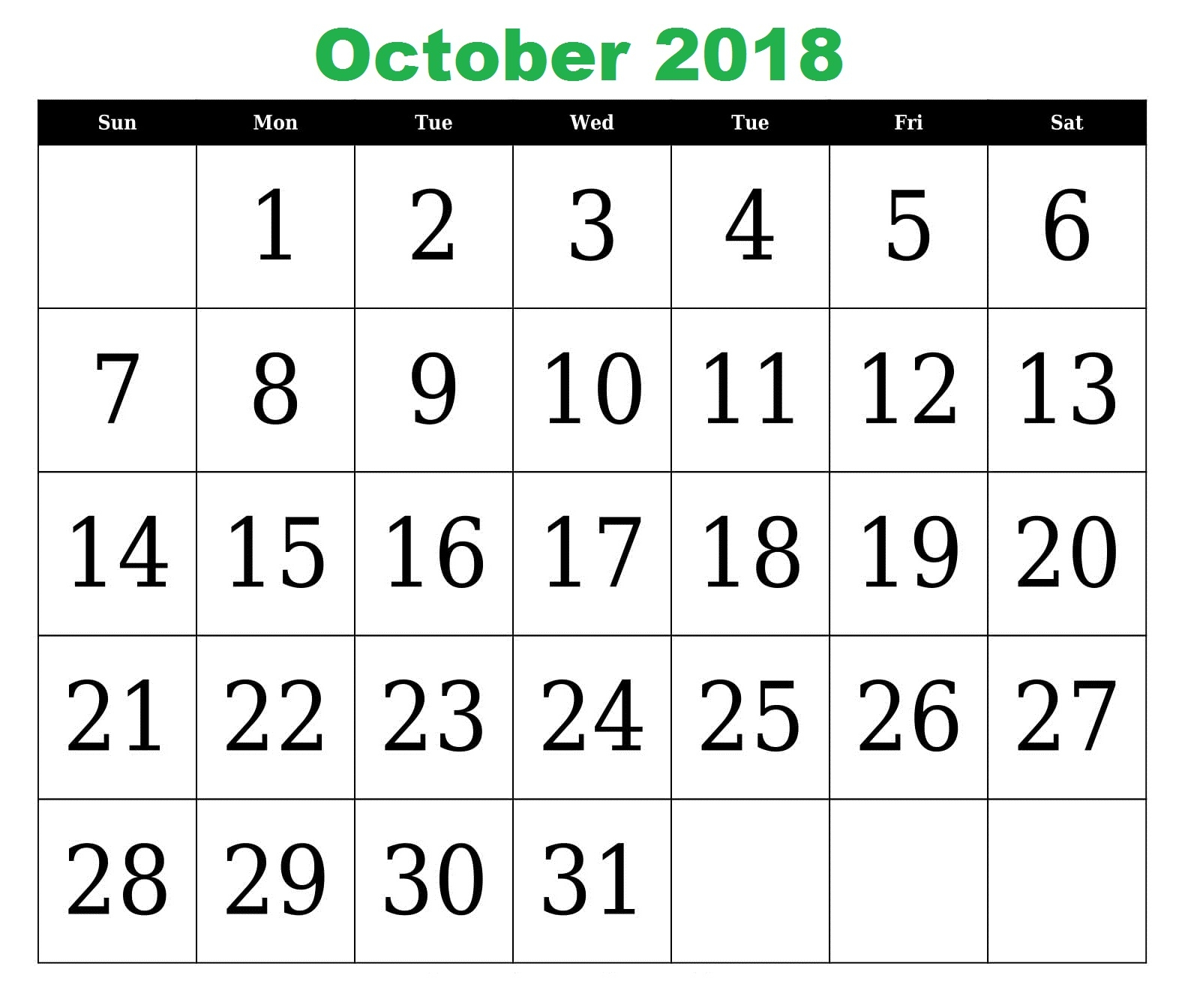 october 2018 calendar printable free site provides all october Calendar October 2018 Template erdferdf