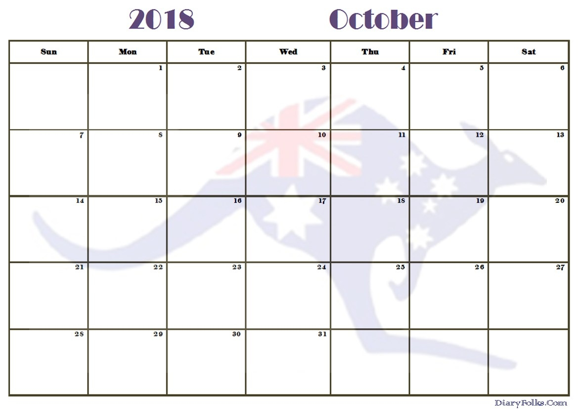 October 2018 Calendar Printable Template USA UK Canada
