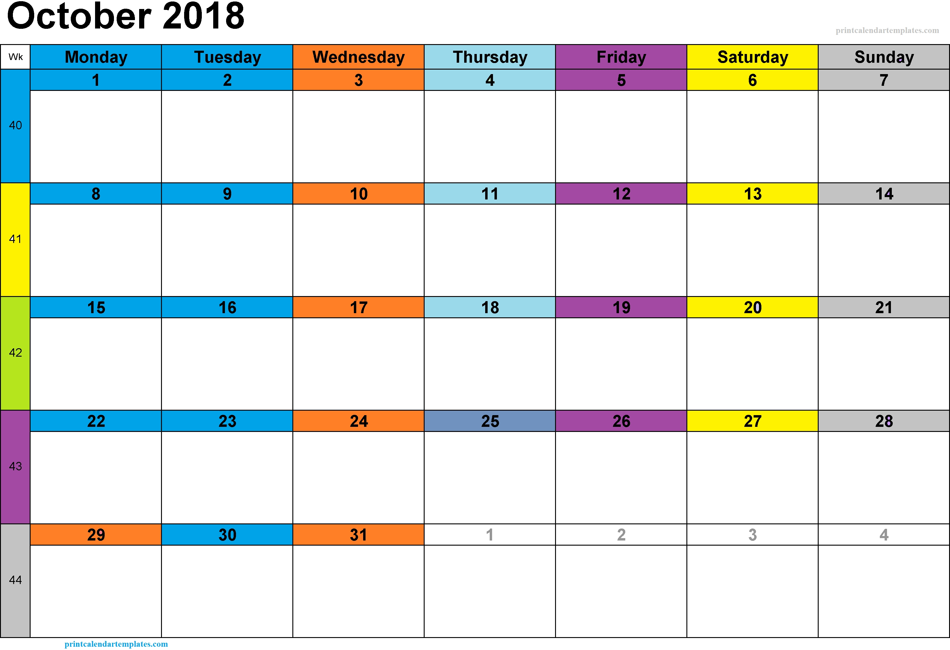 Printable October 2018 Calendar Excel with Notes Templates