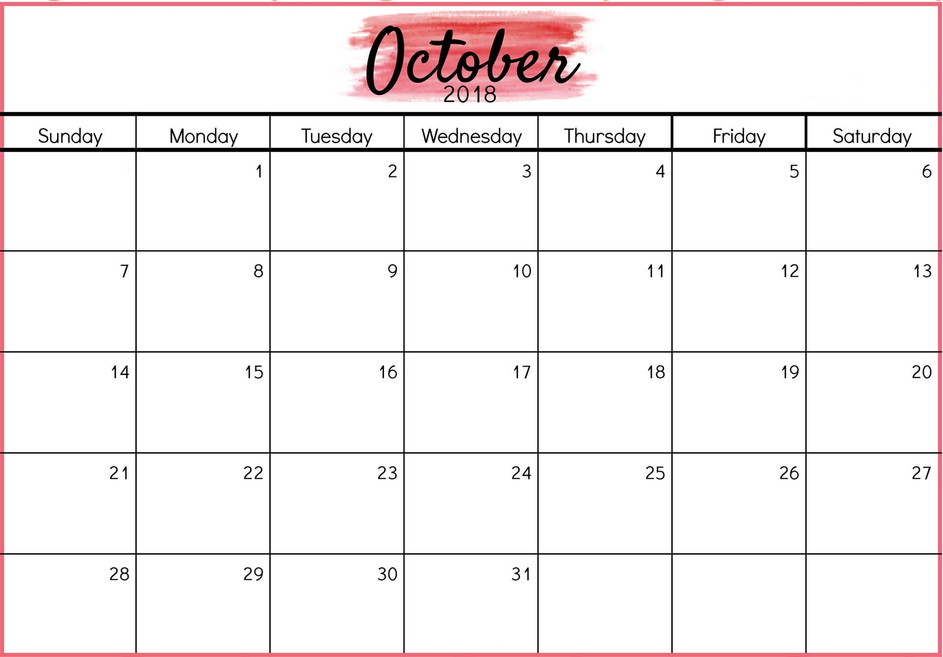 october 2018 calendar printable with holidays printable calendar Printable October 2018 Calendar erdferdf