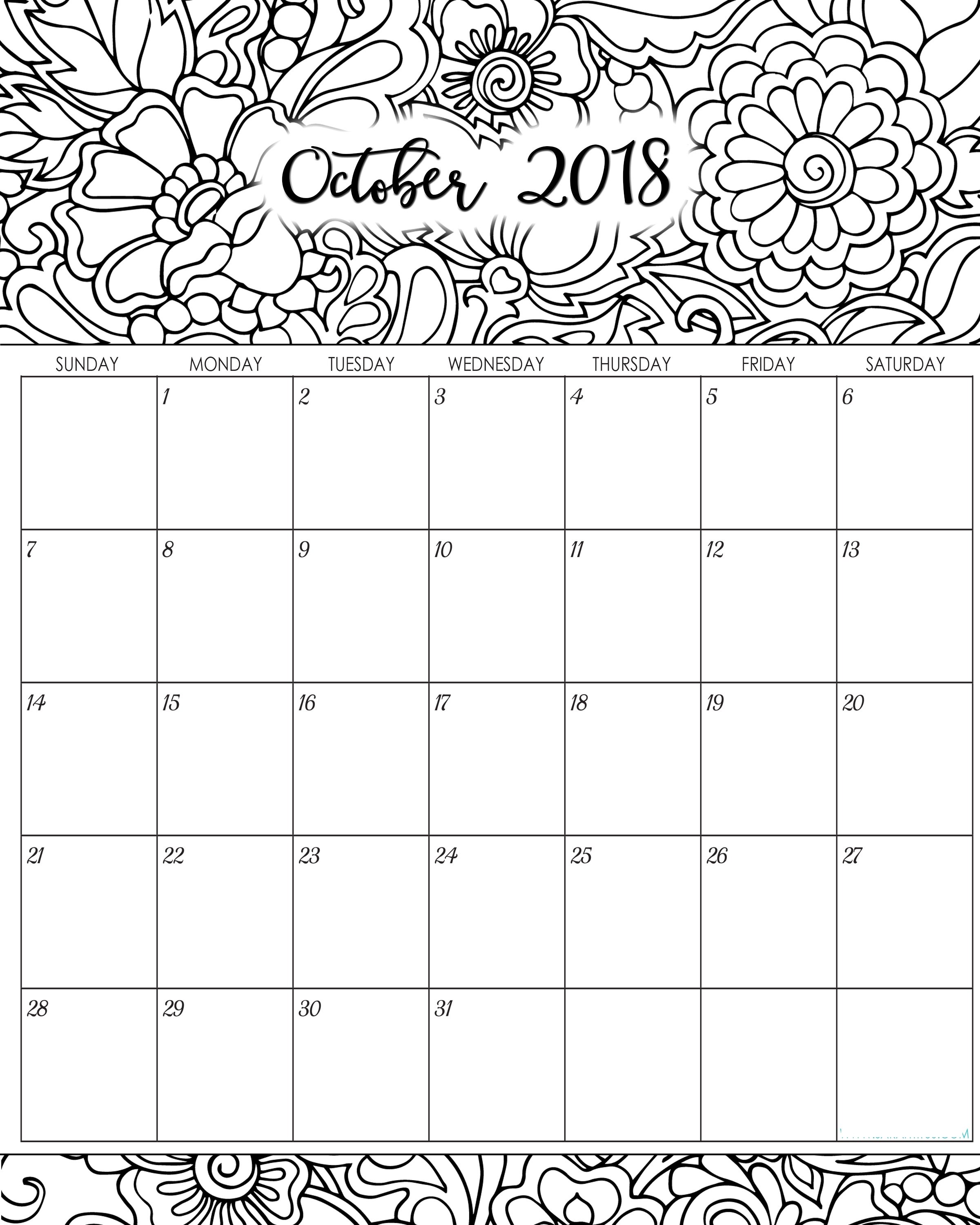 october 2018 calendar printable word desktop template Printable October 2018 Calendar erdferdf