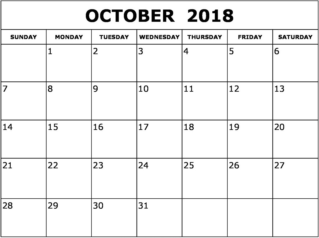 october 2018 calendar template printable printable 2018 calendar October 2018 Calendar Printable Template erdferdf